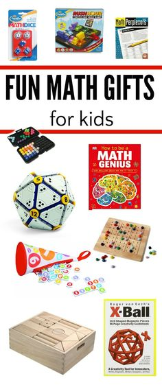 A guide to educational and fun math gifts for kids of all ages including games, puzzles, books and toys. Math Activities For Kids, Math For Kids, Math Games, Preschool Gifts, Steam Activities, Christmas Gift Games, Christmas Fun, Holiday, Love Math