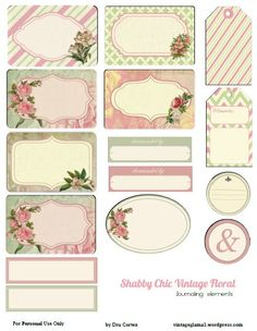 shabby chic pink green tags tn Free Printable Download    Shabby Chic Floral Journaling Elements
