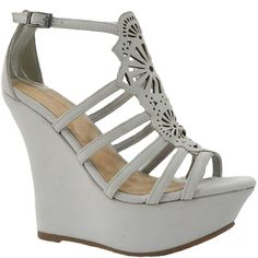 Dollhouse Cure Center Cutout Strappy High Wedges in Light Gray ($10) ❤ liked on Polyvore featuring shoes, sandals, cut-out shoes, light gray shoes, light grey shoes, strap shoes and cut out shoes