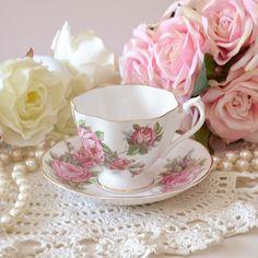 Pink Rose Fine Bone China Teacup and Saucer