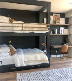46 Stunning Bunk Bed Design Ideas That Will Be Solutions For Your Small Kids Bedroom Bunk Beds For Girls Room, Bunk Bed Rooms, Bunk Beds Built In, Modern Bunk Beds, Bunk Beds With Stairs, Cool Bunk Beds, Kids Bedroom, Bedroom Decor, Build In Bunk Beds
