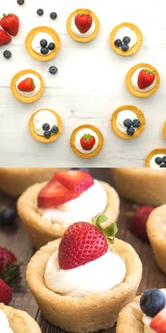 These amazing cheesecake sugar cookie cups have a sugar cookie crust, topped with a simple no bake cheesecake filling, and your favorite fresh fruit. They're perfect for an easy yet elegant dessert! desserts to sell Cheesecake Sugar Cookie Cups Tart Recipes, Baking Recipes, Cookie Recipes, Tart Cups Recipe, Mini Dessert Recipes, Easter Recipes, No Bake Cheesecake Filling, Cheesecake Recipes, Cheesecake Cookies