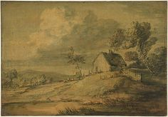 Gainsborough-Wooded landscape with cottage, cows and sheep (c. 1770)