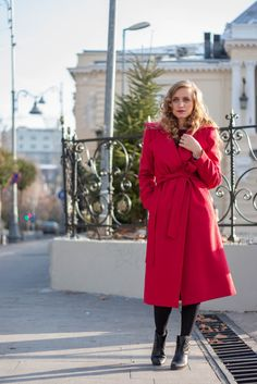 Fashion editorial red coat street style