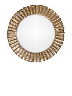 Cannes gold mirror. Carved from mahogany. Overall diameter 120 cm. Bevelled glass.