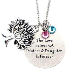 O.RIYA Mother's Day Gifts From Daughterthe Love Between Mother and Daughter Is Forever Necklace Jewelry with Heart Charm Pendant (Green)