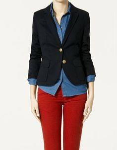 Twill blazer with gold buttons