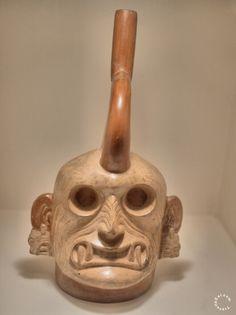 Moche Stirrup Vessel Depiction of the God Al Paec 1-800 CE). Larco Museum, Lima