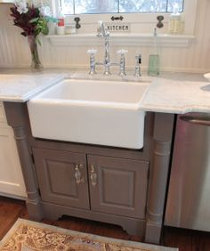 Grey cabinet for farmhouse sink...