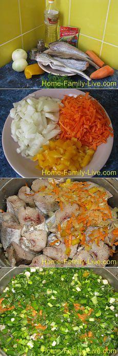 Кулинарные рецепты Минтай тушеный с овощами - пошаговый фоторецепт