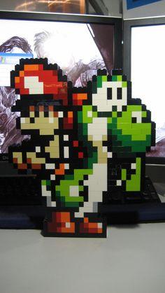 Mario and Yoshi in LEGO