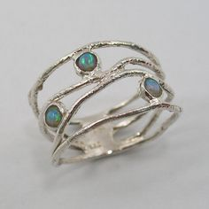 Opal ring. Sterling silver opal ring. wave by STarLighTstudiO3
