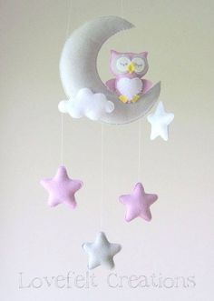 Baby Mobile Owl Mobile Crib Mobile Owl Baby Mobile Stars Baby Mobile Mobile Owl Crib Mobile Owl by lovefeltmobiles Baby Crafts, Felt Crafts, Diy And Crafts, Felt Mobile, Mobile Mobile, Baby Owls, Baby Decor, Baby Sewing, Kids Room