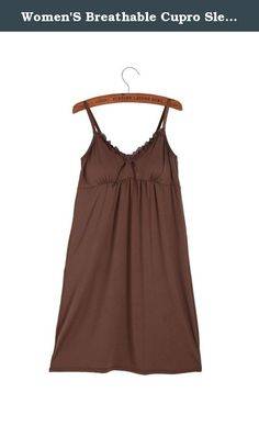 Women'S Breathable Cupro Sleeping Cami With Cup Insert Brown Size S. Women'S Breathable Cupro Casual Long Cami Tank Top.