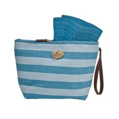 """Cappelli Straworld Inc. Pack a Hat w/Striped Toyo Bag  Material:  Toyo Bag / Ribbon Hat  Details:  Faux Leather Wristlet, Lined, Zip Closure, Contains Matching 4 1/2"""" Brim Sun Hat  Size;  9 1/2""""W x 7""""H x 3""""B"""