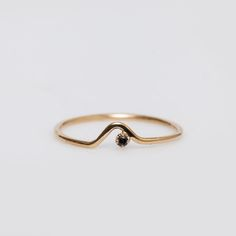 WWAKE - 10K Gold/Black Diamond Triangle Lineage Ring