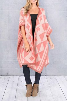 Beautiful tonal pink Aztec print cardigan. Cardi has a great long length and open front. The sides are also open after the arm holes. Great as a jacket or coat over skinnies paired with a riding boot!     Pink Aztec Cardigan Clothing - Sweaters - Cardigans Dallas, Texas