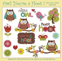 Owl You're a Hoot mini cross stitch project. Stitch individually or as a sampler.