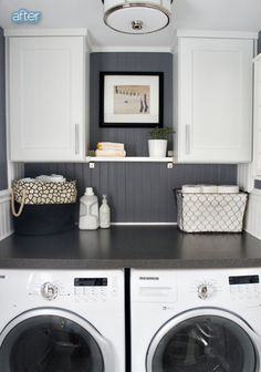 Laundry room idea- counter over the front loaders