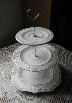 3 Tiered Shabby Chic Cupcake/Dessert/Jewelry Stand by ArtduVerre. Sold out but totally my style