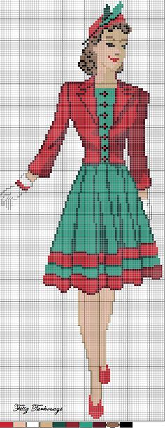 0 point de croix femme en vert et rouge - cross stitch vintage lady in green and red