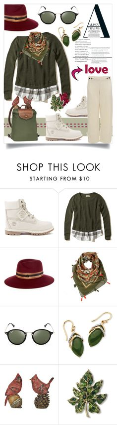 """""""Untitled #3587"""" by kellie-debrandt-mescher ❤ liked on Polyvore featuring Timberland, Hollister Co., Maison Michel, Ray-Ban, Palm Beach Jewelry, Kenneth Jay Lane, Longchamp and Murphy"""