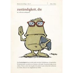 Monster des Alltags Onlineshop   Monster des Alltags Postkarte: Zuständigkeit Word 2, Poster, Stress, Knowledge, Lol, Humor, Feelings, Comics, Drawings