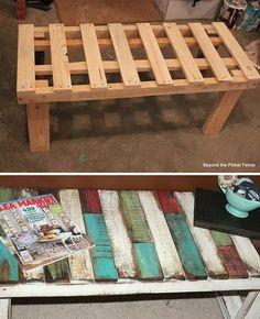 DIY Patchwork Pallet Bench   http://diycozyhome.com/diy-patchwork-pallet-bench/