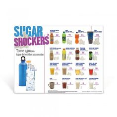 The Sugar Shockers™ Spanish Poster features a variety of popular beverages including milk, juices, sports drinks, energy drink, and sodas shown side by side with their equivalent number of sugar cubes #LearningZoneXpress