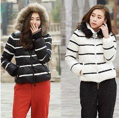 Stripe Down Jacket Winter Warm Goose Jacket Hooded Down Jacket Side Pockets Women Down Jacket Custom Made Plus siz