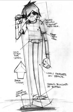 gorillazzz:  Jamie Hewlett's sketch of 2D