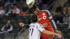 Ryan Johnson heads the ball in to the net to open the scoring in LA. TFC goes on to win the match 2-1.
