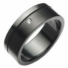 R&B Joyas - Anillo hombre, acero inoxidable 316l y óxido de circonio, anillo 8mm, talla 24, color negro: Amazon.es: Joyería
