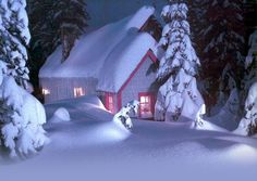 Winter email stationery (stationary): House Covered In Snow