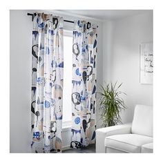IKEA SILVERBUSKE curtains, 1 pair The curtains can be used on a curtain rod or a curtain track.