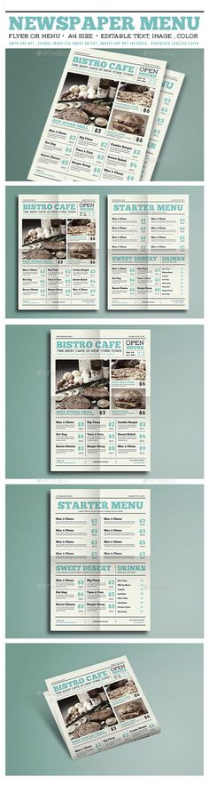 Newspaper Menu Flyer  - PSD Template • Only available here ➝ http://graphicriver.net/item/newspaper-menu-flyer-/15057560?ref=pxcr