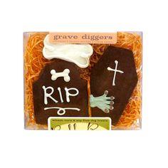 Cemetery Halloween Dog Treats: Headstone, Casket and Bone.