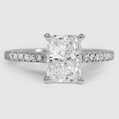 Platinum Sonora Diamond Ring // Set with a 1.26 Carat, Radiant, Ideal Cut, E Color, IF Clarity Diamond #BrilliantEarth