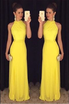 Sheath Prom Dresses,Pretty Prom Dresses,Yellow Halter Prom Dresses,Charming Prom Gowns,Evening Dresses,Beautiful Prom Dress For Teens,Party Dresses