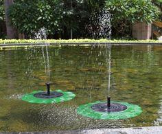 tsss solar de cepillos de cabezas de flor de loto de la fuente de agua de
