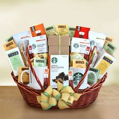 $130 : Starbucks Exquisite Variety Gourmet Coffee, Tea, & Treats Gift Basket | Great Office Gift Basket for the Coffee Lover!