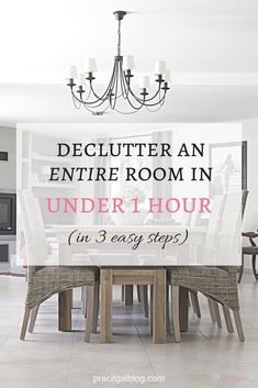 If clutter is stressing you out and keeping you from doing the things you want, or if you're embarrassed to have people over to your house, it's time to declutter. You CAN declutter quickly if you already have the right mindset. CLICK to find out the 3 easy steps to declutter an entire room efficiently so that it only takes you an hour...or less!