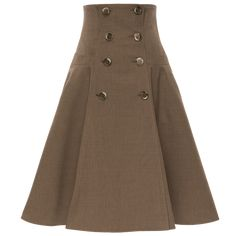This full, flared style in a classic beige shade is fitted through the waist down to the hip, then flares out. Featuring slash pockets on the front. Ribbon Skirts, Work Skirts, Piece Of Clothing, Flare Skirt, Double Breasted, Work Wear, High Waisted Skirt, Casual Outfits, Beige