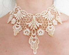 large lace choker bib - hand dyed floral necklace - cream gold beaded vintage Victorian retro - wedding bridal jewelry