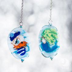 Mermaid earrings Mismatched Asymmetric Dangle long Glass