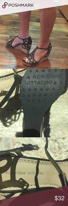 Adrienne Vittadini, make a statement! Worn once, excellent condition. Adrienne Vittadini Shoes Wedges