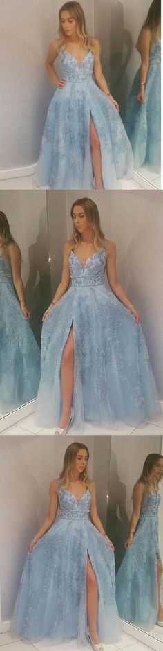 Light Blue Lace Appliques Prom Dresses with Slit Beads V Neck Evening Dresses, This dress could be custom made, there are no extra cost to do custom size and color Split Prom Dresses, V Neck Prom Dresses, Pink Prom Dresses, Cheap Prom Dresses, Long Bridesmaid Dresses, Evening Dresses, Affordable Prom Dresses, Elegant Dresses, Bright Dress