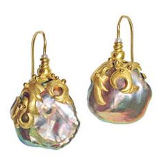 One-of-a-Kind Baroque Chinese Freshwater Pink Pearl Earrings intricately handcrafted by Lilly Fitzgerald in yellow gold and accented with two white pearl accents. Pink Pearl Earrings, Gold Diamond Earrings, Pearl Jewelry, Crystal Jewelry, Gold Jewelry, Vintage Jewelry, Fine Jewelry, Handmade Jewelry, Drop Earrings