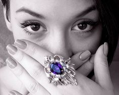 Large  Gothic Ring - Purple Statement Swarovski Ring - Fantasy Gothic Jewelry by LeBoudoirNoir on Etsy