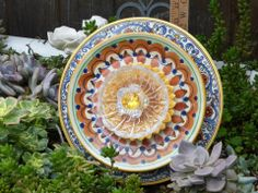 Plate Flowers. #310  Drought Resistant.       Garden Yard Art glass and ceramic plate flower